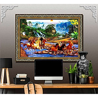 Bức tranh ngựa treo tường bát mã - MÃ ĐÁO THÀNH CÔNG chất liệu in vải lụa hoặc giấy ảnh bóng gương Mã số:L8F-00401277L8