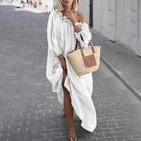 Fashion Women Solid Color Dress Off Shoulder Long Sleeve Ruched Bandage Plus Size Loose Maxi Dress