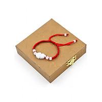 Vòng đeo tay tết dây Tỳ hưu TD1 kèm hộp gỗ - Vòng tay chỉ đỏ may mắn