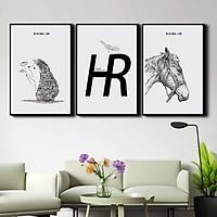 Bộ 3 tranh canvas treo tường Decor họa tiết trắng đen, phong cách đơn giản, nhẹ nhàng - DC061