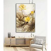 Tranh canvas Trang Trí Hoa Sen Vàng treo tường