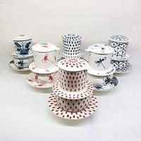 Bộ phin pha cafe sứ, Bộ tách phin sứ pha cà phê. Gốm sứ bát tràng vẽ tay thủ công