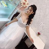 Đầm xoè công chúa trễ vai lưới phối ren mi kết cườm TRIPBLE T DRESS -size M/L (kèm ảnh/video thật) MS157V