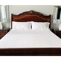 Bộ drap giường cotton trắng A cao cấp (1 ga, 2 vỏ gối nằm, 1 vỏ gối ôm)