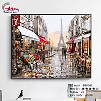 Tranh tự vẽ tự tô màu theo số sơn dầu số hóa phong cảnh phố hoa Paris tháp Eifel DP0001