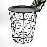 Iron Tea Table Metal Storage Basket Nordic Geometry for Living Room Sofa Organizer