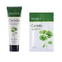Combo Sữa rửa mặt Beauskin Centella CICA Cleansing Foam 120 ml - Mặt nạ dưỡng da Centella CICA