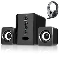 Combo Bộ 3 Loa Máy Tính USB D-202 + Tai nghe chụp tai kèm mic đàm thoại CT-770  (Màu Ngẫu Nhiên)