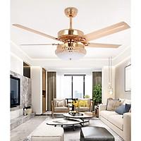 Quạt trần đèn - Quạt trần 5 cánh sắt trang trí - Quạt trần trang trí phòng khách BG1011