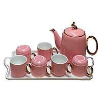 Bồ tách trà khay sứ hồng