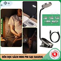 Đèn đọc sách mini đế kẹp Baseus Comfort Reading Mini Clip Lamp - 350mAh - 24H sử dụng - Phím cảm ứng - Hàng Nhập Khẩu