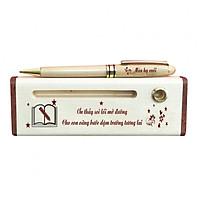 Hộp bút gỗ khắc chữ câu nói về Thầy Cô (Có bút) - WG5
