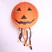 Đèn lồng giấy trang trí Halloween màu cam mẫu bí ngô