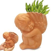 Chậu đất nung Thiên Thần Nhỏ vintage [Size C16xR8xD16], chậu có lỗ, trồng bonsai, cây cảnh, sen đá, trang trí sân vườn