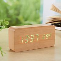 Đồng hồ giả gỗ LED AIWAN để bàn đo thời gian, nhiệt độ phòng hiện đại, tiện dụng hình chữ nhật - Tặng pin.