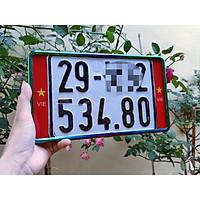 Khung biển số xe máy có logo trang trí viền titan 7 màu đã bắt vít lắp đặt tại nhà(tặng kèm logo in uv trên nền mica)