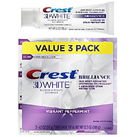 Lốc 3 cây kem đánh răng Crest 3D White Brilliance Vibrant Peppermint 116g ( tím )