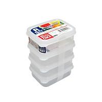 Set 04 hộp nhựa Nakaya 100ml bảo quản thức ăn trong rủ lạnh, có nắp mềm - Nội địa Nhât