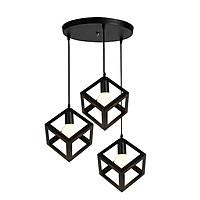 Bộ 3 đèn thả khối lập phương trang trí nội thất - kèm bóng LED và đế ốp trần