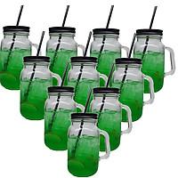 Bộ 10 Ly Thủy Tinh Uống Trà Sữa 630 ml Camdaco (Nắp Thiếc Màu Ngẫu Nhiên)