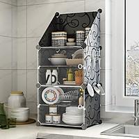 Tủ nhựa lắp ghép kèm ô xéo và móc treo để đồ dùng nhà bếp