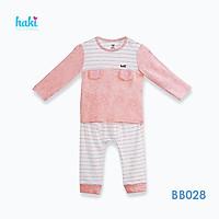 Bộ quần áo sơ sinh cho bé vải sợi tre - bamboo siêu mềm mịn cao cấp - đồ sơ sinh cho bé bé trai , đồ sơ sinh bé gái - Bộ dài tay cài vai can cầu ngực cho bé từ 3 tháng đến 3 tuổi (4-15kg) BB028 HAKI