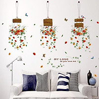 Decal dán tường Chậu hoa Amyshop DKN067 (105 x 130 cm )