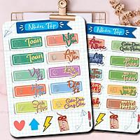 Sticker Nhãn Vở Môn Học Phân Trang Môn Học, chống nước - Tặng sticker Cung Hoàng Đạo