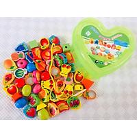 Đồ chơi giáo dục sớm giúp bé thông minh, đồ chơi montessoti xâu hạt gỗ an toàn chủ đề Trái cây