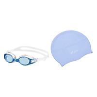Bộ Kính Bơi View V500S-CLB (Xanh Trắng) Và Nón Bơi View V31-CLB (Xanh Nhạt)