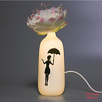 Đèn cô gái đội sen Gốm Sứ Bát Tràng trang trí nội thất, đèn để bàn phòng ngủ hàng chính hãng.