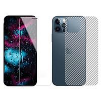 Dán cường lực màn hình + Mặt lưng + Viền vân carbon iPhone 12 Pro Max GOR Full chống bụi loa thoại - Hàng Nhập Khẩu
