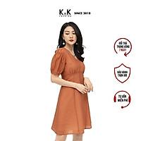 Đầm Chữ A Nhấn Eo Cao Cổ V K&K Fashion KK106-21 Màu Cam Vải Voan Mềm Mại