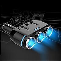 Bộ chia tẩu sạc trên xe hơi đa năng tích hợp 3 tẩu và 2 cổng USB sạc nhanh QC 3.0 thông minh, công suất lớn BC39 (Tặng 2 nút kẹp giữ dây điện cao su-giao ngẫu nhiên)