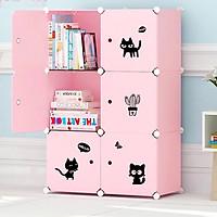 tủ nhựa lắp ghép 6 ô hình mèo full hồng