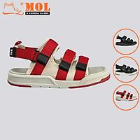 Giày sandal unisex nam nữ 3 quai ngang vải dù có quai hậu tháo rời hiệu MOL mang đi học du lịch MS1802R