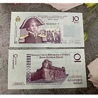 Tiền Haiti 10 Gourdes , mới 100% UNC, tặng túi nilon bảo quản