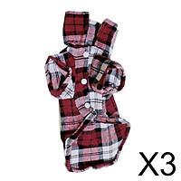 3xPet Dog Red Plaid Pattern T-Shirt Lapel Coat Jacket Clothes Apparel Tops--M