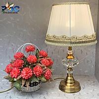 Đèn ngủ để bàn thân pha lê MB-632 Đèn bàn chao vải trang trí phòng ngủ
