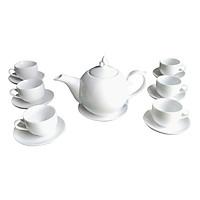 Bộ ấm chén men trắng chóp lửa gốm sứ Bát Tràng (bộ bình uống trà, bình trà)