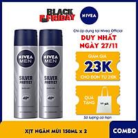 Bộ đôi Xịt Ngăn Mùi NIVEA MEN Silver Protect Phân Tử Bạc Giảm 99.9% Vi Khuẩn Gây Mùi (150mlx2) - 82959