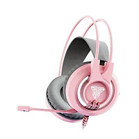 Tai nghe Gaming chụp tai có dây màu hồng dễ thương Fantech HG20 CHIEF II, led nền, có mic, jack cắm 3.5mm - Hàng chính hãng