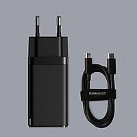 Bộ sạc nhanh Baseus Gan2 Pro 65W chuôi tròn 2 cổng Type-C và 1 USB kèm dây Type-C to Type-C dài 1M ( 2 màu ) - Hàng chính hãng