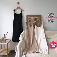 Váy Đũi Hai Dây Suông Dài Sexy Đầm Nữ 2 Dây Form Rộng Trơn Basic YUKI STORE