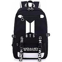 Balo BTS dây in chữ trắng cặp sách nam nữ đựng laptop hộp bút bóp vở viết phong cách Hàn Quốc tiện lợi đi học đi chơi tặng ảnh thiết kế vcone