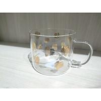 Ly cốc thủy tinh có quai chịu nhiệt họa tiết mạ vàng đồng 450ml