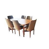 Bộ bàn ghế ăn cho nội thất phòng bếp, bàn ăn Status - 6 ghế Curved không tay| Nội thất bmd