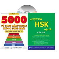 Combo 2 sách: 5000 từ vựng theo khung hsl 1 đến hsk6  và Luyện thi HSK cấp tốc cấp 1-2 ( kèm CD)