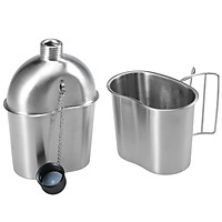 Portable Stainless Steel Military Canteen with Cup Set for Outdoor Camping Hiking Backpacking Picnic Survival