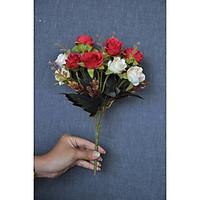 Bó10 bông hoa hồng lụa vàng trắng phối đỏ